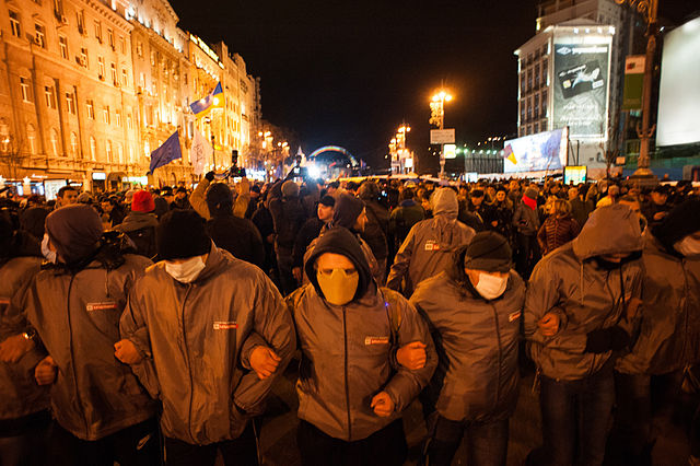 Protesters in Ukraine, November 2013 By Mstyslav Chernov/Unframe (Self-photographed, https://mstyslavchernov.com/) [CC-BY-SA-3.0 (https://creativecommons.org/licenses/by-sa/3.0)], via Wikimedia Commons