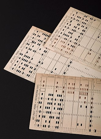 Automatic Computing Engine - Punch cards in tray for Pilot ACE computer built at the National Physical Laboratory (United Kingdom), 1950. Science Museum London.