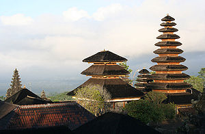 Pura Besakih - The early morning sun hits the spires of Pura Besakih