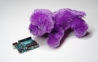 Purple Puppy inspects Arduino Uno