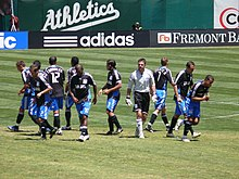 4710c2955ae The San Jose Earthquakes on the field at the O.co Coliseum in 2008