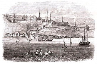 History of Quebec City - Romanticized depiction of Quebec City in 1720.