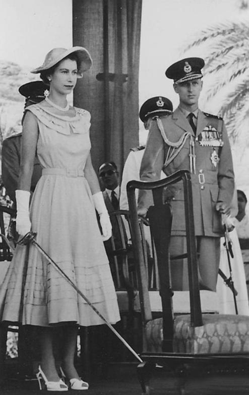 Queen Elizabeth in Aden 1954