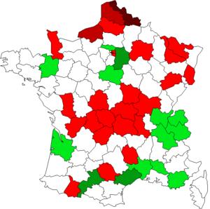 2010 redistricting of French legislative constituencies - Image: Rédecoupage des circonscriptions en France en 2010
