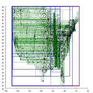 R-tree - Image: R tree built with Ang Tan linear split