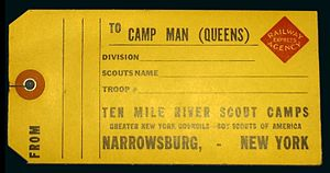 Railway Express Agency - Railway Express Agency luggage tag from New York City to Narrowsburg for the Queens Boy Scout camp, Camp Man