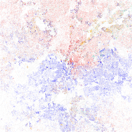 Map of racial distribution in Atlanta, 2010 U.S. Census. Each dot is 25 people: White, Black, Asian, Hispanic, or Other (yellow) Race and ethnicity 2010- Atlanta (5559880279).png