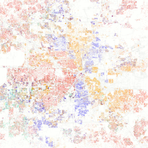 Demographics of Houston - A map of racial/ethnic distribution in the City of Houston and Greater Houston, 2010 U.S. Census - Each dot represents 25 people. Red dots represent White people, orange dots represent Hispanic people, blue dots represent Black people, green dots represent Asian people, and yellow dots represent other people