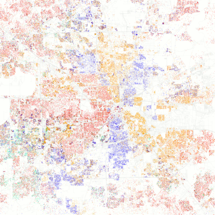 Map of ethnic distribution in Houston, 2010 U.S. Census. Each dot is 25 people: White, Black, Asian, Hispanic or Other (yellow) Race and ethnicity 2010- Houston.png