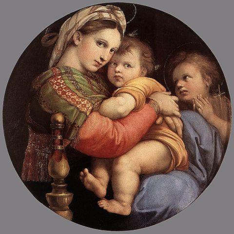 La Madonna. E molti dipinti sulla Natività da Samael. 480px-Raffaello_Sanzio_-_Madonna_della_Seggiola_%28Sedia%29_-_WGA18816
