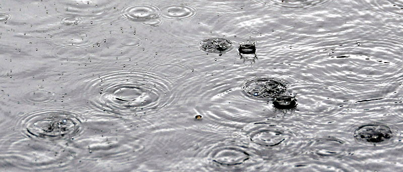 Raindrops on asphalt