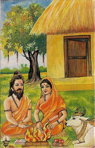 Vasistha - Vashistha with his wife Arundhati and Kamadhenu cow