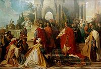 Ramberg, Arthur Georg von — Der Hof Kaiser Friedrichs II zu Palermo —1865 - Perspective corrected.jpg