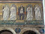 Ravenna, sant'apollinare nuovo, int., madonna col bambino e angeli, epoca del vescovo agnello, 0.JPG