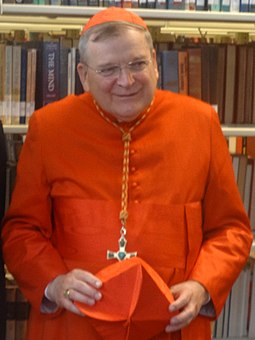 Cardinal Raymond Burke, Patron of the Sovereign Military Order of Malta since 2014 Raymond Cardinal Burke with Biretta.jpg