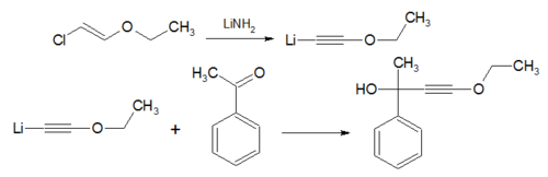 The Isler modification in a reaction with acetophenone.