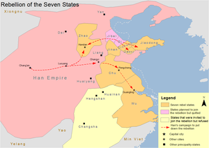 Rebellion of the Seven States - Map showing the Rebellion of Seven States during the Han dynasty
