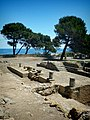 Remains of Greek temple in the ancient Greek city of Neapolis at the archaeological site of Empúries.jpg