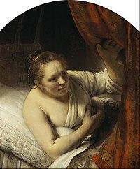 Rembrandt (Rembrandt van Rijn) - A Woman in Bed - Google Art Project.jpg