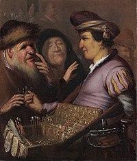 Rembrandt van Rijn, The spectacle-pedlar, circa 1624–1625, Museum De Lakenhal, Leiden.jpg
