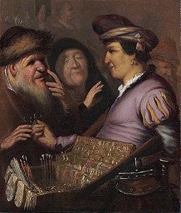 Rembrandt van Rijn, The spectacle-pedlar, circa 16241625, Museum De Lakenhal, Leiden