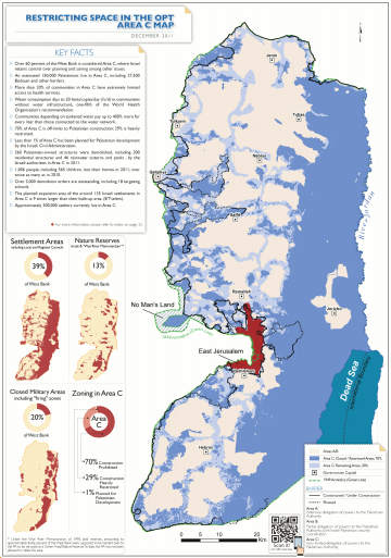 Area C of the West Bank, controlled by Israel under Oslo Accords, in blue and red, in December 2011 Restricted space in the West Bank, Area C.png