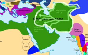 Map of the beginning of Abassid revolt before the Battle of the Zab, which caused the fall of the dynasty.