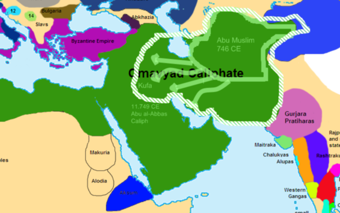 The Caliphate at the beginning of the Abbasid revolt, before the Battle of the Zab Revolt.png