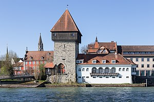 Konstanz - Rheintorturm, a section of the former city wall of Konstanz at Lake Constance