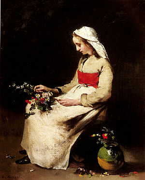 Théodule Ribot - Image: Ribot Theodule A Girl Arranging A Vase Of Flowers 1