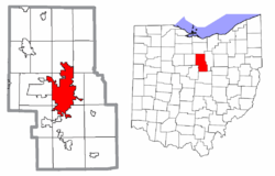 Location of Mansfield in Richland County and state of Ohio