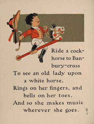 Hobby horse (toy) - William Wallace Denslow's illustrations for a variant of Ride a cock horse, from a 1901 edition of Mother Goose.