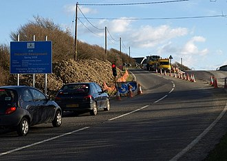 A39 road - Roadworks at Helscott involving a new section of the A39
