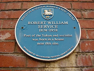 Robert W. Service - Commemorative Plaque in Preston, England