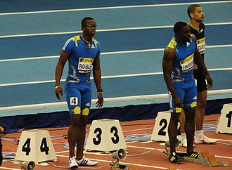 Birmingham Indoor Grand Prix - Dayron Robles, 2008 Olympic champion, lining up for the 60 metres hurdles