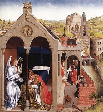 Pope Sergius I - Dream of Pope Sergius (Rogier van der Weyden, 1430s). According to legend, a dream told Sergius that Lambert of Maastricht, Bishop of Tongeren-Maastricht-Liège, had been assassinated, and that Hubertus was to be consecrated in his place.