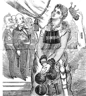 "Mihail Kogălniceanu - Romanian reactions toward the Congress of Berlin: in this 1878 cartoon, Romania is robbed of her crown (""Bessarabia"", in fact Southern Bessarabia) and weighed down by the addition of Northern Dobruja"