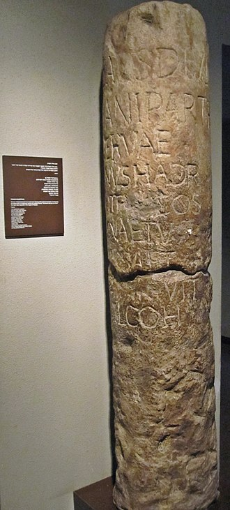First Jewish–Roman War - Roman milestone mentioning the destruction of highways during the revolt