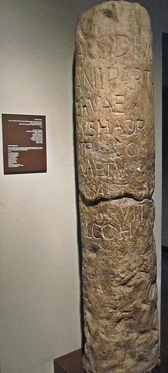 First Jewish–Roman War - Roman milestone mentioning the destruction of highways during the revolt