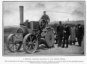Bramah Joseph Diplock - A pedrail tractor engaged in war office trials. Diplock stands left in group.