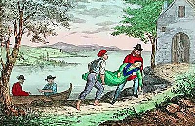 Anita Garibaldi trasportata all'ultimo rifugio
