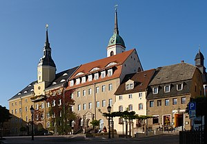 Roßwein - Market square with town hall