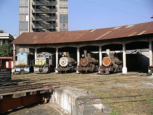 Rail transport in Guatemala - Roundhouse at Guatemala City Station with Diesel and Steam locomotives on February 14, 2007