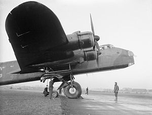 RAF Leeming - This Stirling, N3641/MG-D, seen being prepared for a flight, was the second Stirling to be delivered to No. 7 Squadron at Leeming and took part in their first raid over Rotterdam on the night of 10–11 February 1941.