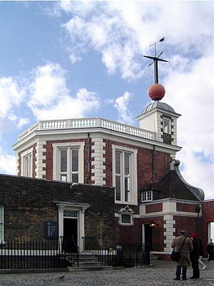 Time signal - The time ball at Greenwich Observatory, London, is shown in the top right of picture.