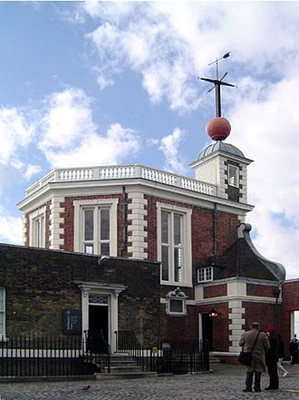 Time ball - Royal Observatory, Greenwich, London. Installed in 1833, a time ball sits atop the Octagon Room