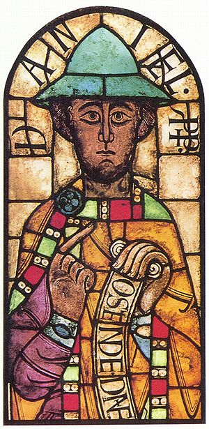 Medieval stained glass - The prophet Daniel from Augsburg Cathedral (c. 1065)