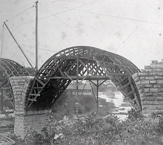 Stone Arch Bridge (Minneapolis) - Image: SAB under construction
