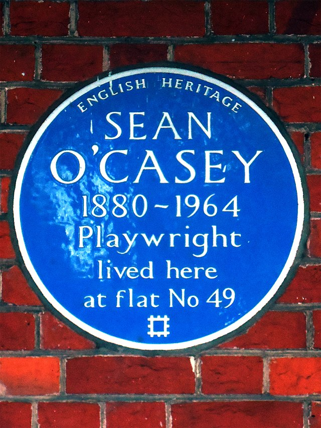 Sean O'Casey blue plaque - Sean O'Casey 1880-1964 playwright lived here at flat No. 49