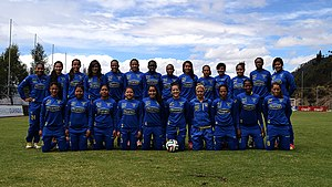 Ecuador women's national football team - The women's national team in August 2014 (Photo: Carlos Rodríguez L./Andes)